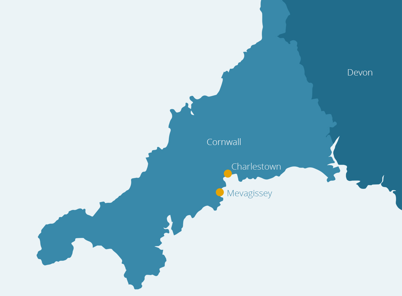 Map of Cornwall with Mevagissey and Charlestown marked.